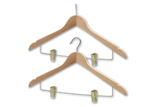 Hendon Wooden Coathangers with Skirt Clips - President (Brass)